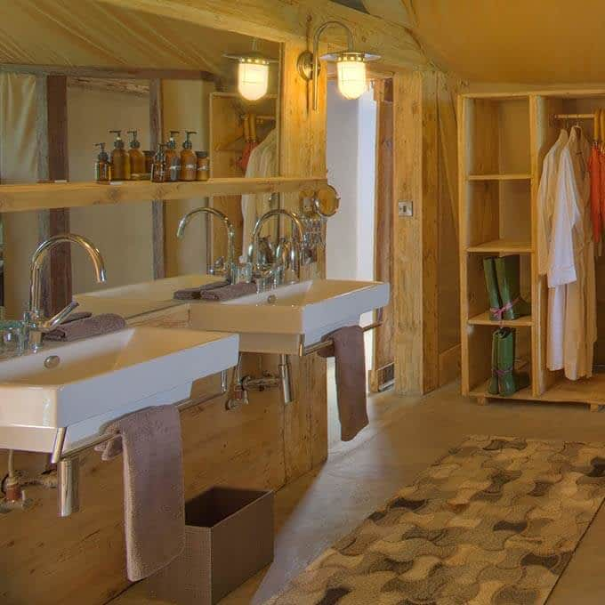 Bathroom at andBeyond Grumeti Serengeti Tented Camp in the Grumeti Game Reserve