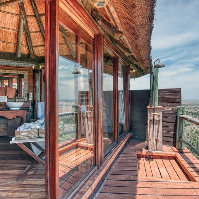 Your bathroom and outdoor shower at Mbali Mbali Soroi Serengeti Lodge in the Serengeti