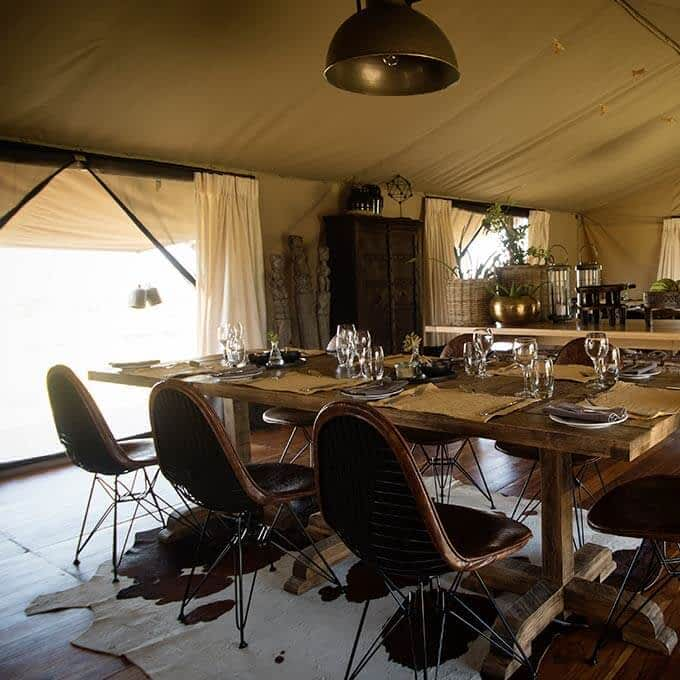 Dining tent at Siringit Serengeti Camp in Serengeti National Park