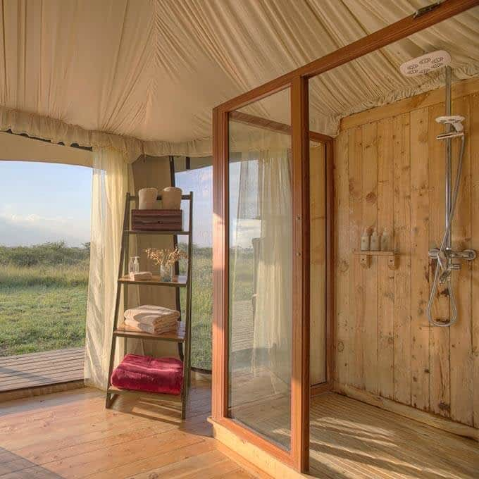 Your ensuite bathroom at Ehlane Plains Camp in Serengeti National Park