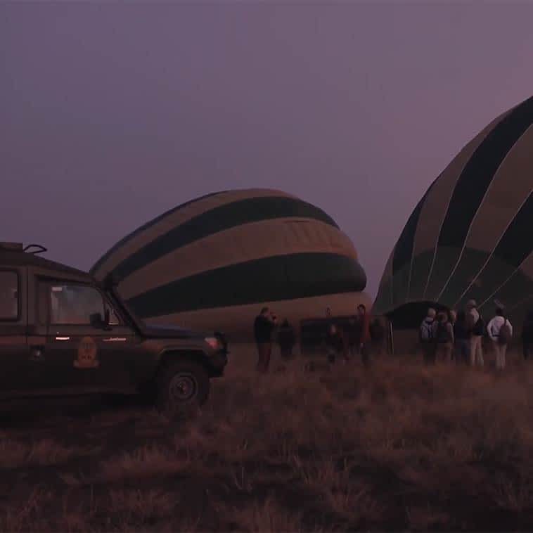 A hot air balloon flight in the Serengeti