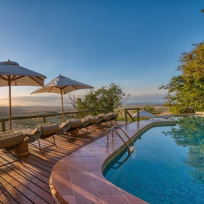 Mbali Mbali Soroi Serengeti Lodge's swimming pool with a view in Serengeti National Park in Tanzania