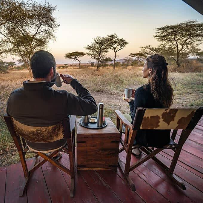 Enjoy a bush coffee on your private outside deck at Lemala Ewanjan Tented Camp