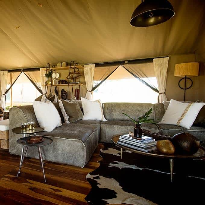 Lounge tent at Siringit Serengeti Camp in Tanzania